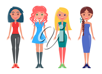 Brunette woman in black skinny pants, blue dress on redhead girl, stylish lady wears classic outfit, blonde female with green gown vector summer mode.