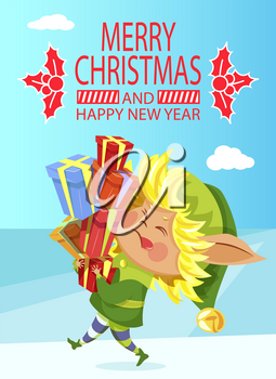 Merry Christmas and Happy New Year greeting card, elf with gift boxes pile. Winter holiday poster, Santa helper with presents, imaginary creature from Lapland. Xmas postcard vector illustration