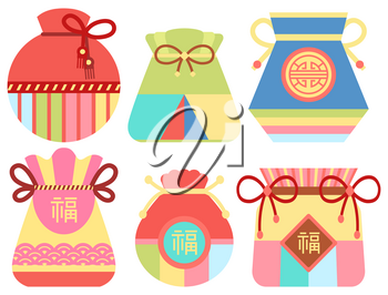 Chinese fortune bag vector, sac filled with items bringing luck and prosperity. Flat style oriental traditions and customs, fabric cloth set with threads and hieroglyphs symbolism in Asian countries