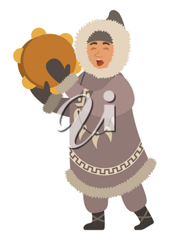 Eskimo singing songs and playing traditional national musical instrument. Isolated inuit wearing thick jacket and necklace made of fangs. Northern person with cultural customs. Vector in flat style