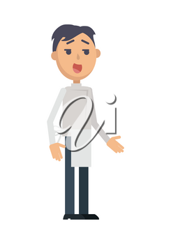 Waiter or cook character icon. Smiling brunet man in apron flat vector isolated on white background. Maid or servant. Service staff and personnel. For profession, work, business concepts design