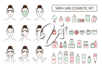 Skin care cosmetic set on promo poster with woman that applies beauty means on face isolated cartoon flat vector illustrations on white background.