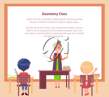 Geometry class web banner with place for text and teacher standing with pointer near blackboard and children sitting at desks vector illustration