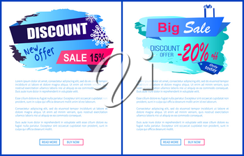 Discount new offer -15 -20 sale winter labels with snowflakes on abstract blue background isolated on white seasonal vector web posters with text