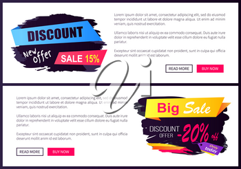 Discount new offer only today 15 - 20 off Black Friday ad labels on online banners, business promotional web posters of night sale event vector