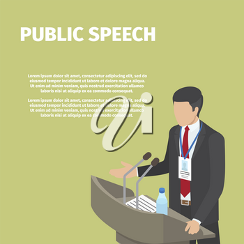 Man in black suit stands behind gray podium on public speech, vector illustration. Two microphones, paper with text and bottle with water on tribune