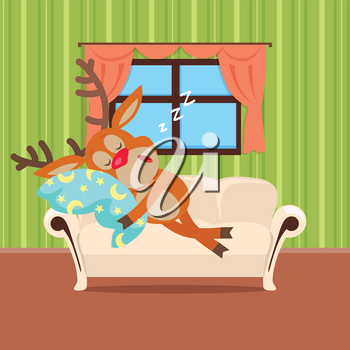 Sweet sleeping at home cartoon concept. Cute horned reindeer lying on the couch in the apartment, hugging pillow and wheezing flat vector illustration isolated on white background. Healthy sleep