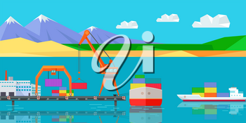 Logistics and transportation of cargo ship and cargo container working with crane at port. Natural landscape with sea, mountains, sky, clouds, sandy beach. Large industrial crane for cargo container