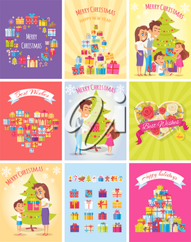 Gift information cards set. Happy New Year wishes. Christmas tree with gifts. Happy family. Great holidays. Layout illustrations modern pages with typography text. Flat design. Vector illustration.
