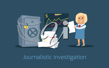 Journalistic investigation concept vector. Flat design. Financial crime, tax evasion, money laundering, corruption illustration. Media worker woman character. Journalist with important documents.