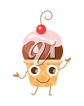 Ball of ice cream in cone with one cherry. Funny happy cartoon character. Crispy brown round waffle cup. Chocolate ice with pink flowering topping. Tasty confectionery. Flat design. Vector illustration