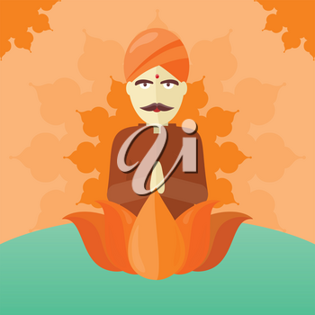 Indian man isolated on round ornate mandala. Indian sadhu with crossed hands in colorful turban and robes. Hindu sadhu monk meditating. Man from India in national yoga suit. Vector illustration