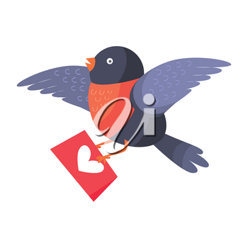 Bullfinch bird with red chest flying with envelope isolated on white. Bird holds mailing letter with heart. Cute cartoon greeting card design. Valentines day concept vector illustration in flat style