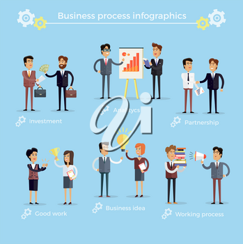 Business process infographics vector collection on blue background. Money investment, analytics structure, partnership deal, good work that is awarded, business idea and hard working process