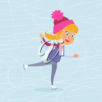 Isolated cartoon girl in violet vest, red scarf and pink hat skating on frozen surface. Vector illustration of happy female child spending winter holidays on icerink. Christmas entertainments in town.
