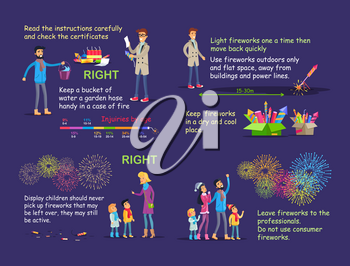 Instruction with vector pictures with people for right firework usage. Check certification and keep bucket of water, light one time outdoor, teach children, leave pyrotechnics for professionals.