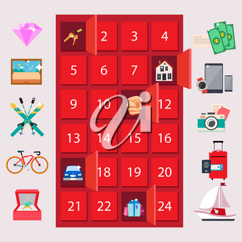 Red locker with luxury quiz gifts on pink background. On vector illustration can be won money or house, jewelry accessories, transport items, electronic devices or journeys, or nothing if misfortune