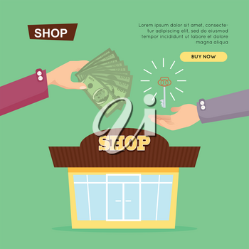 Buying shop online, property selling by cash web banner vector illustration. Advertising real estate e-commerce concept. Getting new key of beautiful shop. Business agreement opening own business.