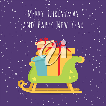 Merry Christmas and Happy New Year. Christmas presents on sledge on background of abstract snowy landscape or night star sky. Toboggan with gift boxes. Sleigh carrying cadeaus. Vector illustration