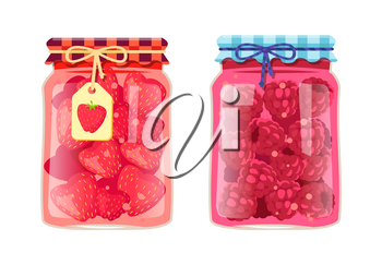 Preserved food in jars, fruits with jam or compote. Sweet strawberries and raspberries, products conservated for winter vector illustrations set.