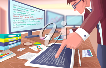 Developer with screens, poster representing programmer working hard in office, several computers, cup of coffee and papers on vector illustration