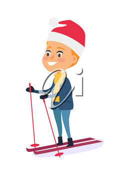 Isolated smiling boy skiing on white background. Vector illustration of happy child doing winter kind of sports with help of ski and poles in mountain resort. Outdoor spending time on fresh air