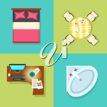 Big furniture items set, icons of bed with pillows, table and chairs, computer and lamp, and sink represented on vector illustration