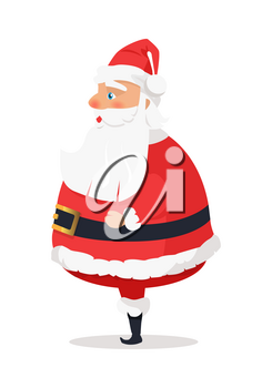 Isolated standing Santa Claus on white side view. Vector illustration of old man with long beard worn in red warm coat trousers, soft hat, black boots wide belt. Element of holiday decor for shops