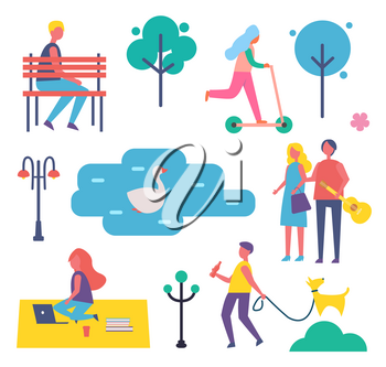 Park and people in summer set of icons vector. Man sitting on bench, couple with guitar, freelancer on blanket with laptop working, lake and swan