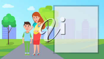 Mother and children standing on road on buildings and trees background vector illustration. A big filling form situated at right side of picture