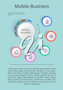 Mobile business solution presentation with icons of income statistics and market analysis on gray background vector illustration for startup demonstration