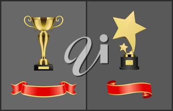 Trophies and red banners set. Golden cup and star awards with silk empty ribbons. Rewards for famous people winner prizes icons isolated  vector