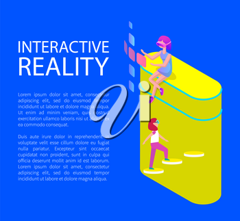 Interactive virtual reality in cartoon style vector banner. Girls in special glasses sitting and looking through pages projection and walking upstairs