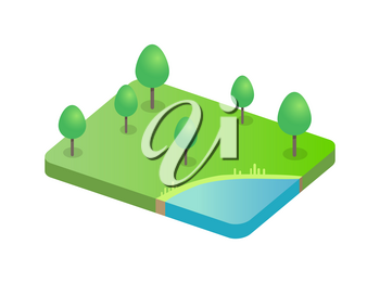 Trees on green field and blue refreshing pond. Lush greenery scenery of forest rustic area countryside environment 3d isometric icon landscape vector