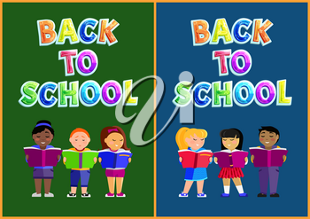 Back to school poster set including children standing with books and reading. Cartoon vector pupils or preschoolers with educational material in hands