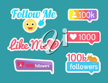 Follow and like me stickers with emoji showing on button set isolated patches vector. Followers and kitten on ribbon with text. Statistics and numbers