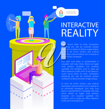 Interactive reality poster text sample and visual effects. Man chatting by laptop, sending message, woman talking on phone using vr glasses vector