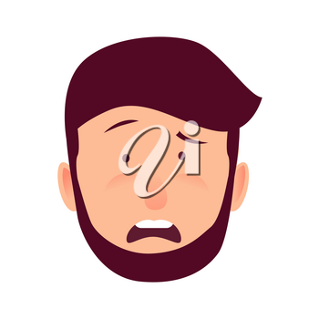 Human emotion of astonishment vector illustration. Bearded man with thin arched eyebrows, curved open mouth and pink cheeks isolated on white background. Shocked young male cartoon character.
