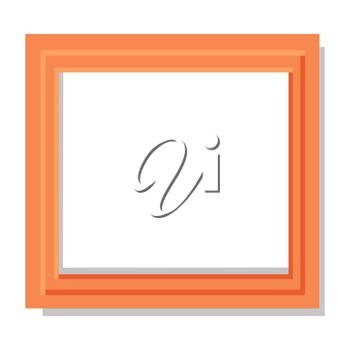 Realistic double orange frame flat and shadow theme. Vector illustration of wooden borders isolated on white background.