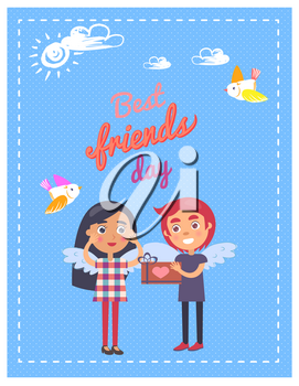 Best friends day template graphic vector colorful poster of young boy giving present box girl. Celebrating couple with wings on backs