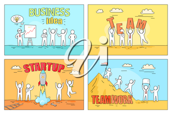 Business idea presentation, good team organization, successful startup and excellent result of teamwork reception vector illustration. Four steps to create prosperous enterprise and strong work crew.
