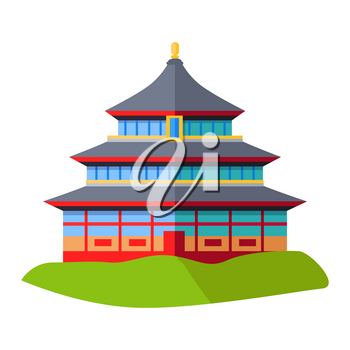 Oriental building isolated on green grass on white. East asian architectural construction icon. Vector illustration of building in eastern design with three dark blue roofs in asian style dwelling