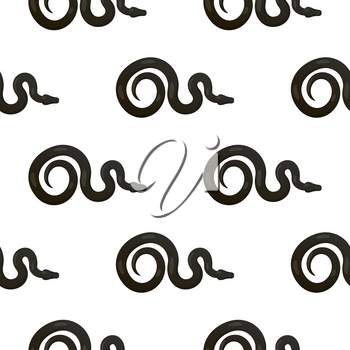Curved slither python or boa constrictor seamless pattern. Creeping black tropical snake vector on white background. Crawling reptile illustration for wrapping paper, prints on fabric