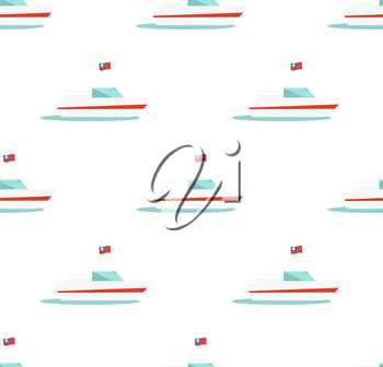 Seamless pattern with yacht icon isolated on white background. Marine sailboat with flag endless texture. Vector illustration of nautical sailing boat, cruise liner on wallpaper or wrapping paper