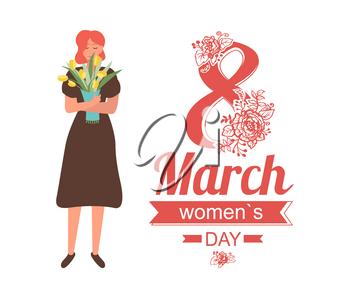 8 March women day greeting card with girl in dress with bouquet of yellow tulips, cartoon character. Vector female celebrating International spring holiday