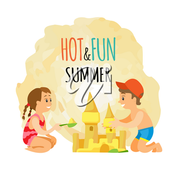 Children building sand castle on beach, boy and girl in swimwear vector. Kids construction tower with scoop, seaside vacation and outdoor activity