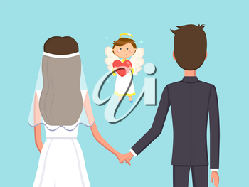 Angelic child boy with heart vector, man and woman holding hands flat style. Marriage of bride and groom, fiance husband and wife in love with each other