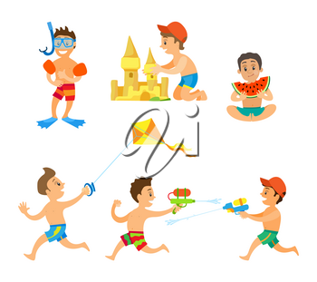 Summer activity set of boys playing water game, running with kite, eating watermelon, making sand castle and wearing underwater equipment isolated vector