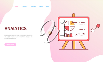 Data analytics page, board on stand decorated by circle diagram, chart and arrow. Flat style diagram on pink, web statistics, annual report vector