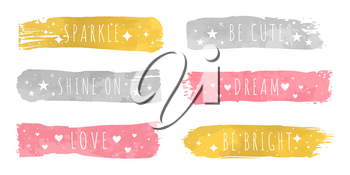 Shiny luxury colors samples with slogan for each. Gold sparkle, silver shine on, pink love, be cute, tender dream and be bright vector illustrations.